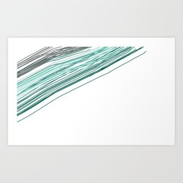 Green & Grey stripe Art Print