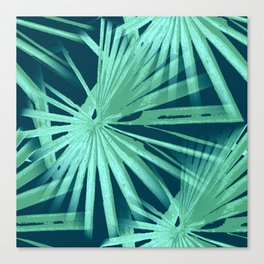 Aqua on Teal Tropical Vibes Beach Palmtree Vector Canvas Print