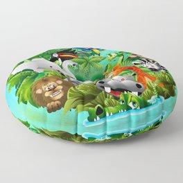 Wild Animals Cartoon on Jungle Floor Pillow