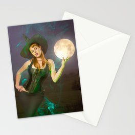 """Moonlighting"" - The Playful Pinup - Halloween Witch Pin-up Girl by Maxwell H. Johnson Stationery Cards"