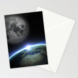 Earth and moon Stationery Cards
