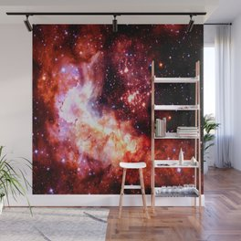 Celestial Fireworks Red Orange Wall Mural