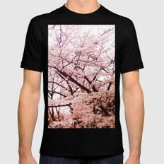 Hiroshima Castle (Cherry Blossom) Mens Fitted Tee Black MEDIUM