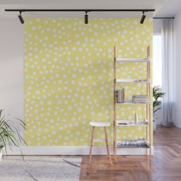 Pastel yellow and white doodle dots Wall Mural