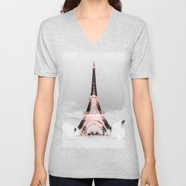 pariS Black & White + Pink Unisex V-Neck