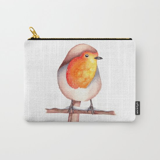 Watercolour Robin in Snow Carry-All Pouch
