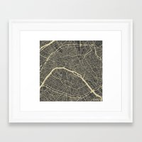 paris map Framed Art Prints featuring Paris Map by Map Map Maps