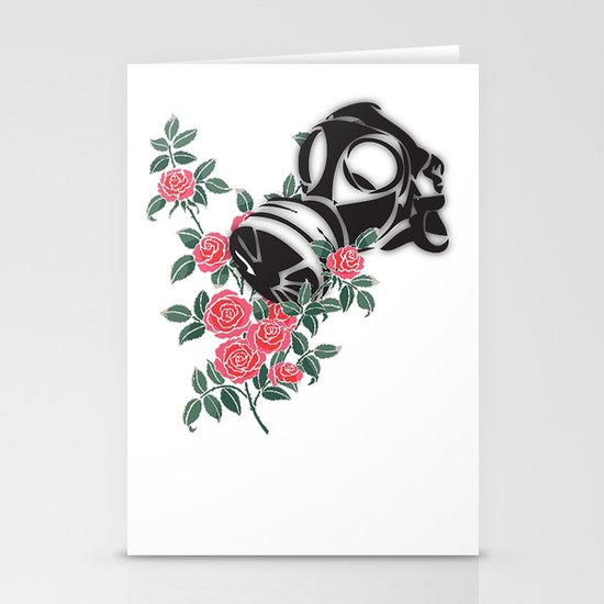 smell the roses - gas mask Stationery Cards