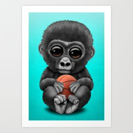 Cute Baby Gorilla Playing With Basketball Art Print