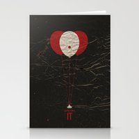 pennywise Stationery Cards featuring Pennywise the Clown - Stephen King's IT Inspired vintage movie poster by Dan Howard