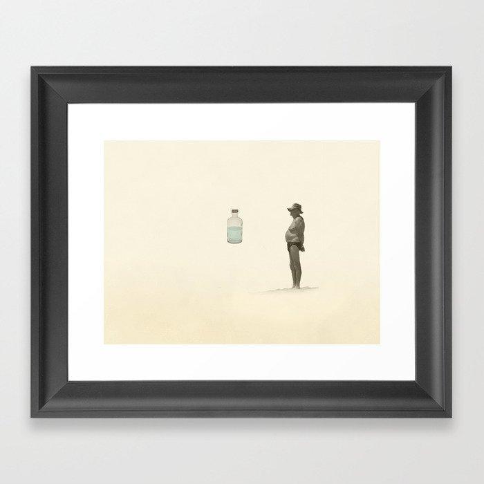 beach and a bottle Framed Art Print