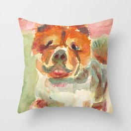 My Bulldog is ready for a walk Throw Pillow