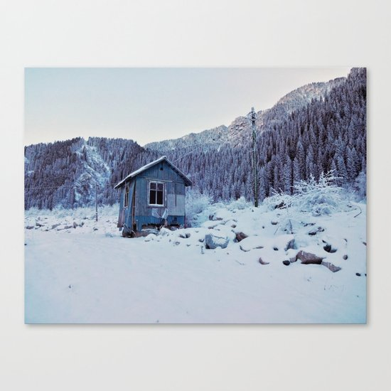 Small house in mountains Canvas Print