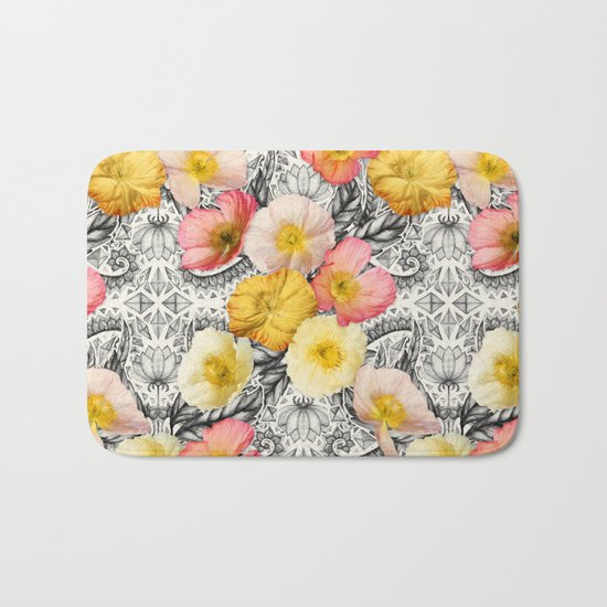 Collage of Poppies and Pattern Bath Mat