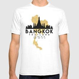BANGKOK THAILAND SILHOUETTE SKYLINE MAP ART T-shirt