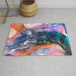 Orange + Teal Bubble Flow Abstract Painting Rug