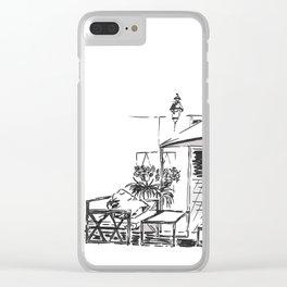 Blacktowhite Sketch Clear iPhone Case