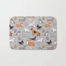 Origami doggie friends // grey linen texture background Bath Mat