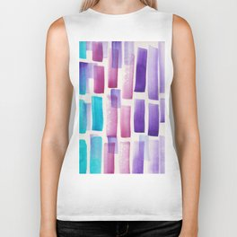 Stripe Blue Purple Violet  | 190213 Watercolour Abstract Painting Biker Tank