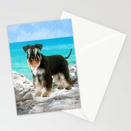 Miniature Schnauzer on the beach Watercolor Stationery Cards