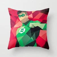 dc comics Throw Pillows featuring DC Comics Green Lantern by Eric Dufresne