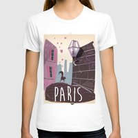 travel poster T-shirts featuring Vintage Paris Travel Poster cartoon by Nick's Emporium