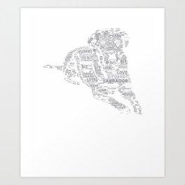 Black Labrador Retriever Gift Yellow Chocolate Lab Calligram T-Shirt Art Print