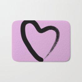 Simple Love - Minimalistic simple black love heart brush stroke on a pink background Bath Mat