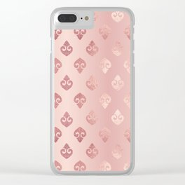 Rose Gold Fancy Spades Pattern Clear iPhone Case