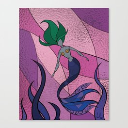 Mermaid Stained Glass (Royal) Canvas Print