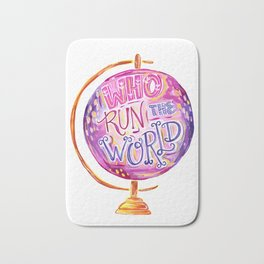 Who Run The World - Feminist Quote - Vintage Globe Bath Mat