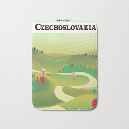 czechoslovakia travel poster Bath Mat