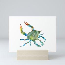 Watercolor Atlantic Blue Crab Mini Art Print