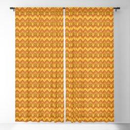 Orange Peel & Saffron Chevrons and Sprockets Blackout Curtain