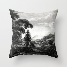 A design to represent the beginning and completion of an American settlement or farm Throw Pillow