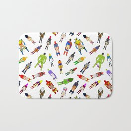 Superhero Butts with Villians - Light Pattern Bath Mat