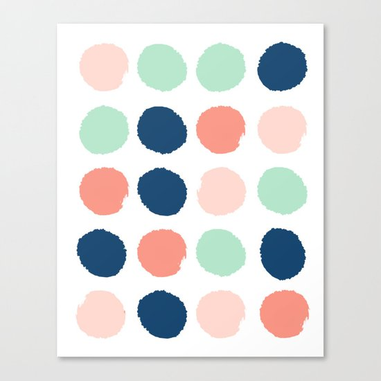 Polka dots abstract dotted pattern brushstrokes paint brush marks abstract trendy colors Canvas Print