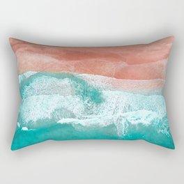 The Break - Turquoise Sea Pastel Pink Beach Rectangular Pillow