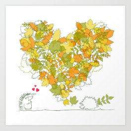 Heart of leaves 4U Art Print