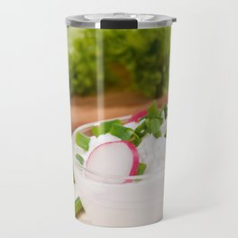 Glass bowl of cottage cheese Travel Mug