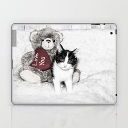 Valentines kitten and teddy Laptop & iPad Skin