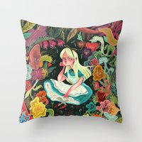 alice in wonderland Throw Pillows featuring Alice in Wonderland by Karl James Mountford