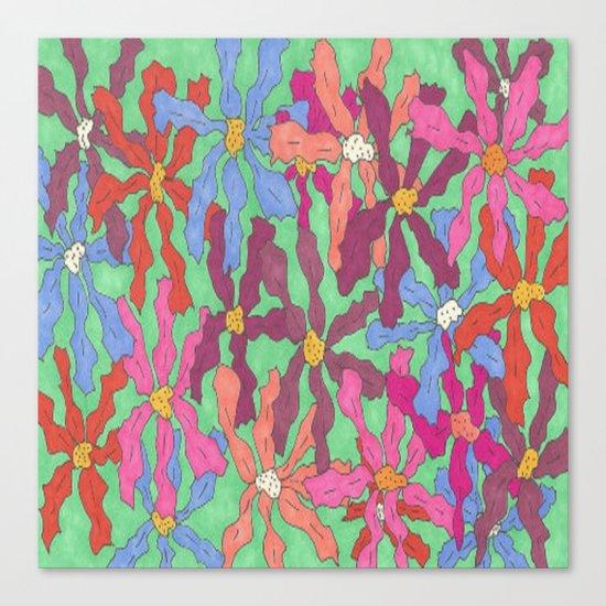 Colorful Retro Floral Print Canvas Print