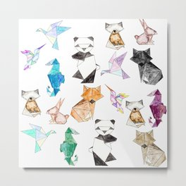 Cute Hand Drawn Geometric Paper Origami Animals Metal Print