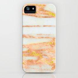 Rose Gold 24-Karat Glitter Marble on Ebony White iPhone Case