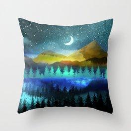 Silent Forest Night Throw Pillow