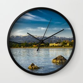 Blue sky early in the morning Wall Clock