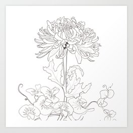 Flora of Lighthearted Living - Color or Paint Your Own! Art Print