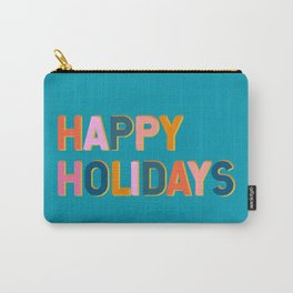 Colorful Happy Holidays Typography Carry-All Pouch