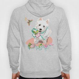 Lovely Western Highland Terrier with Flowers Butterflies Hoody